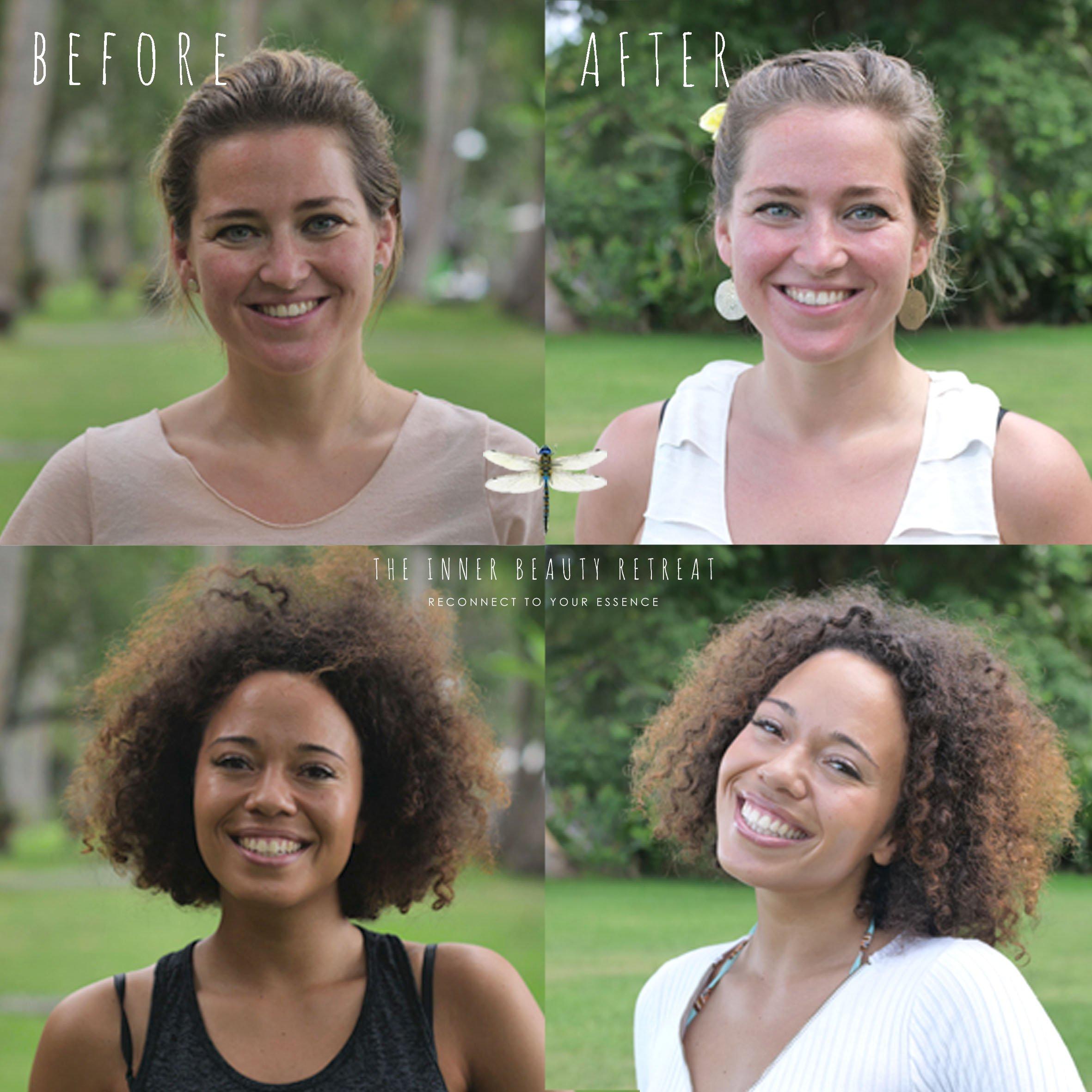 before and after Inner Beauty Retreat bali jessie jazz vuijk sara